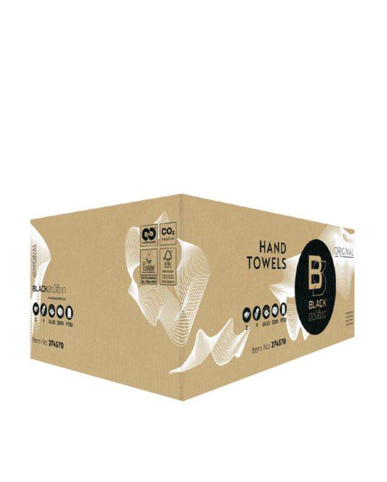 BlackSatino-käsipyyhepaperi. Tuotelaatikon väri ja materiaali: ruskea, pahvi. Tuotenumero: 274570.