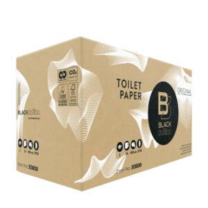 BlackSatino-WC-järjestelmäpaperirulla. Tuotelaatikon väri ja materiaali: ruskea, pahvi. Tuotenumero: 313830.