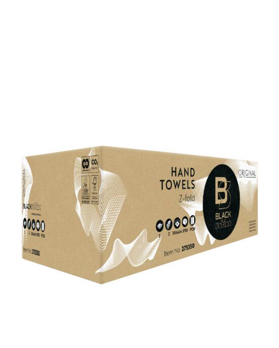 BlackSatino-käsipyyhepaperi. Tuotelaatikon väri ja materiaali: ruskea, pahvi. Tuotenumero: 275350.