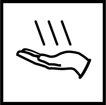 Novosan WC:n käsienkuivaajan opaste. Symbolikuvassa on käsi ja kolme mustaa vinoa viivaa. Muoto: neliö. Väri: mustavalkoinen.