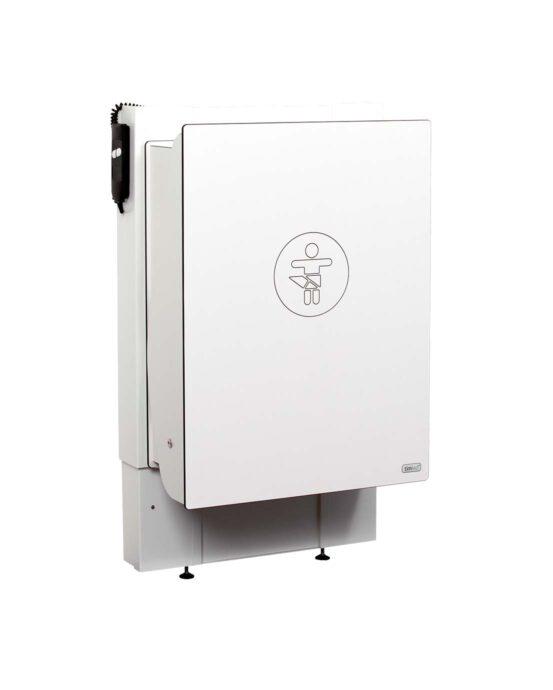 Hiiwi-hissinostin lastenhoitopöytiin. Hoitopöydän hissinostin on alatasolla. Väri: valkoinen. Tuotenumero: Hiiwi