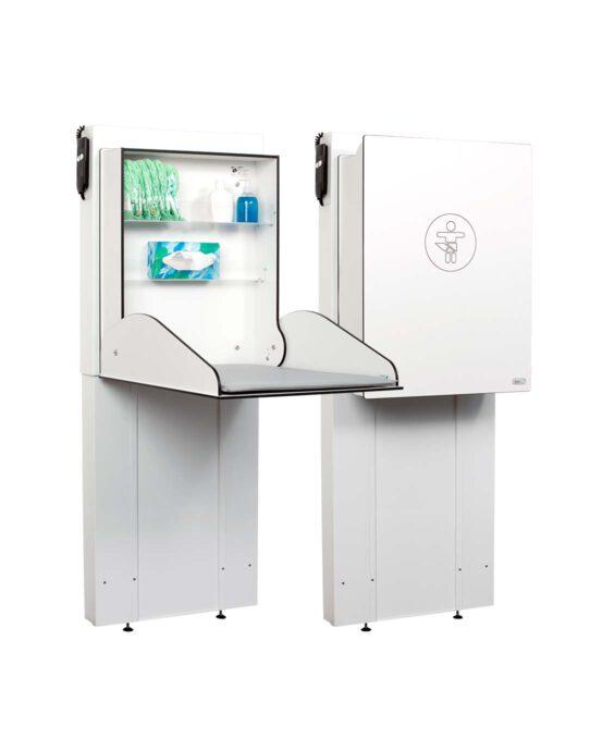 Hiiwi-hissinostin lastenhoitopöytiin. Kaksi lastenhoitopöydän Hiiwi-hissinostinta kuvattuna vierekkäin. Toisessa hoitopöydässä kansi auki ja toisessa kiinni. Väri: valkoinen. Tuotenumero: Hiiwi