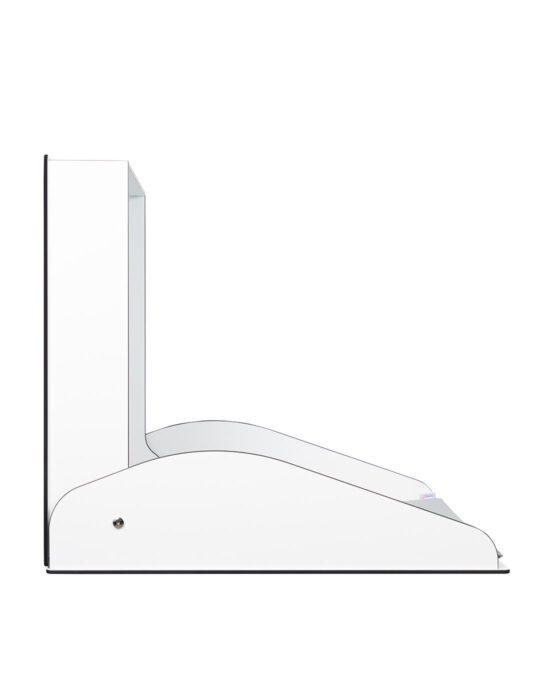 KAWA HPL -lastenhoitopöytä kuvattuna sivulta, kansi auki. Väri: valkoinen. Tuotenumero: TKS8001.