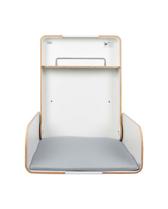 Timkid KAWAmidi-lastenhoitopöytä kuvattuna edestä, kansi auki. Väri: valkoinen. Tuotenumero: TM20001.