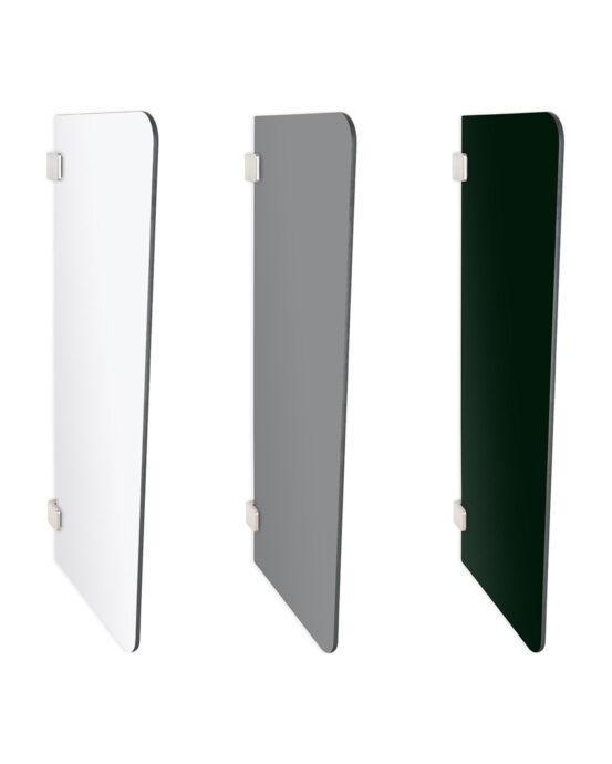 Pisuaarin ujo-väliseinä. Muoto: suorakaide. Värivaihtoehdot ja tuotenumerot: mattavalkoinen 5774455, mattaharmaa 5774452, mattamusta 5774454.