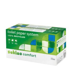 Satino Comfort –WC-järjestelmärullapaperi. Tuotelaatikon väri: vihreä ja valkoinen. Pahvilaatikossa lukee 100 % kierrätettyä WC-paperia. Tuotenumero: 313590.