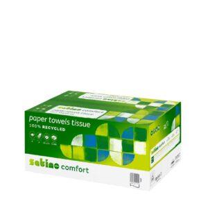 Satino by WEPA Comfort –käsipyyhepaperi. Tuotelaatikon väri: vihreä ja valkoinen. Pahvilaatikon kyljessä lukee 100 % kierrätettyä käsipyyhepaperia. Tuotenumero: 277190.