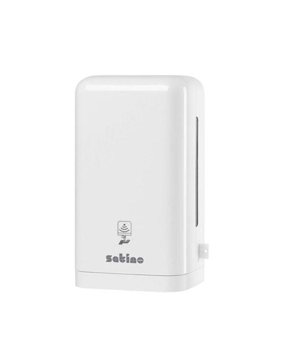 Valkoinen Satino Prestige -sensorisaippua-annostelija kuvattuna edestä. Tuotenumero: 331060.