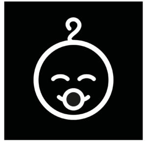 Novosan lastenhoitohuoneen opastekyltti. Symbolikuvassa on keskellä hymyilevä vauva. Muoto: neliö. Väri: mustavalkoinen.