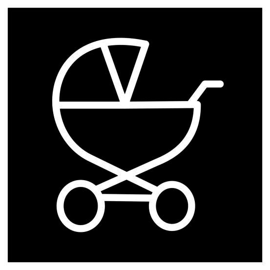 Novosan lastenhoitohuoneen opastekyltti. Symbolikuvassa on neliön keskellä lastenvaunut. Muoto: neliö. Väri: mustavalkoinen.