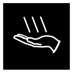 Novosan WC:n käsienkuivaajan opaste. Symbolikuvassa on käsi ja kolme valkoista vinoa viivaa. Muoto: neliö. Väri: mustavalkoinen.