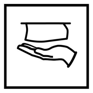 Novosan WC:n käsipaperin opastetarra. Symbolikuvassa on keskellä käsi ja käsipaperi. Muoto: neliö. Väri: mustavalkoinen.