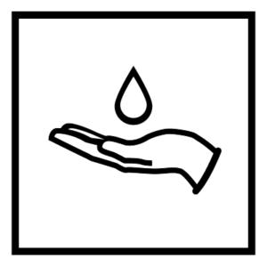 Novosan WC:n saippuan opaste. Symbolikuvassa on kehyksen keskellä on käsi ja saippuatippa. Muoto: neliö. Väri: mustavalkoinen.