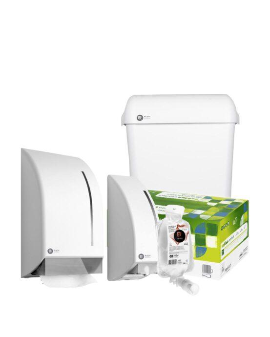 Novosan kosketuspintojen desinfiointipaketti. Edessä valkoinen desinfiointiannostelija ja kirkas desinfiointiaine. Takana valkoinen käsipyyhepaperiannostelija ja pyöreäkulmainen roska-astia. Keskellä vihreä valkoinen käsipyyhepaperilaatikko.