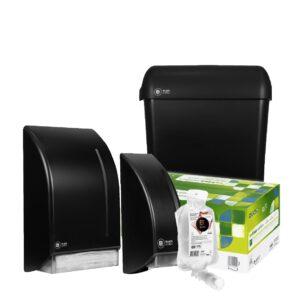 Novosan kosketuspintojen desinfiointipaketti. Edessä musta desinfiointiannostelija ja kirkas desinfiointiaine. Takana musta käsipyyhepaperiannostelija ja pyöreäkulmainen roska-astia. Keskellä vihreä valkoinen käsipyyhepaperilaatikko.