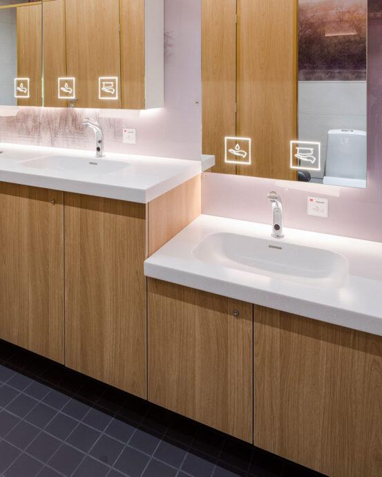 Yksi käsienpesupaikka normaalikorkuisella tasolla ja yksi lavuaari alemmalla tasolla. Alakaappien ovet ovat puukuvioiset, allastasot valkoiset ja hanojen päällä on peilit, joissa on opasteet käsipyyhkeille ja saippualle.