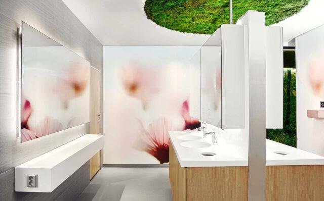 WC-tilan alakaapit on toteutettu tammikuosilla. Allastasot ovat valkoiset ja hanojen päällä on peilit. Peileissä on opasteet käsipyyhkeille ja saippualle.