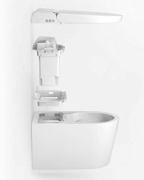 Hygea äly-WC-istuimen komponentit. WC:n kansi, istuinrengas, elektroninen bidee, tekniikkayksikkö ja WC-kulho kuvattuna sivulta.