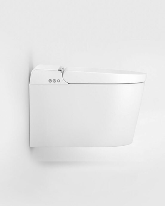 Hygea älykäs seinä-WC kuvattuna sivulta. Väri: valkoinen.