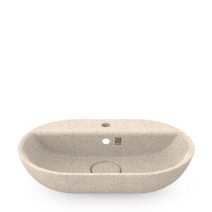 Woodio Soft60 -malja-allas hanapaikalla. Väri: Polar, lämmin valkoinen. Tuotenumero: WB-S60F-A2-POL-G.