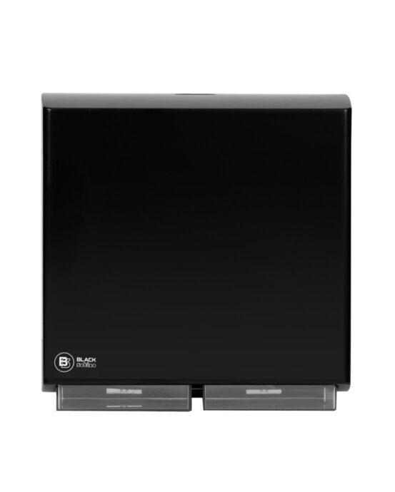 BlackSatino–WC-paperiannostelija. Annostelija kuvattuna edestä. Musta värivaihtoehto. Tuotenumero: 332050.