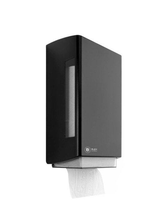 BlackSatino–WC-paperiannostelija. Annostelija kuvattuna viistosti edestä. Musta värivaihtoehto. Tuotenumero: 332040.