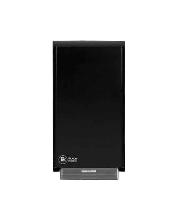 BlackSatino–WC-paperiannostelija. Annostelija kuvattuna edestä. Musta värivaihtoehto. Tuotenumero: 332040.