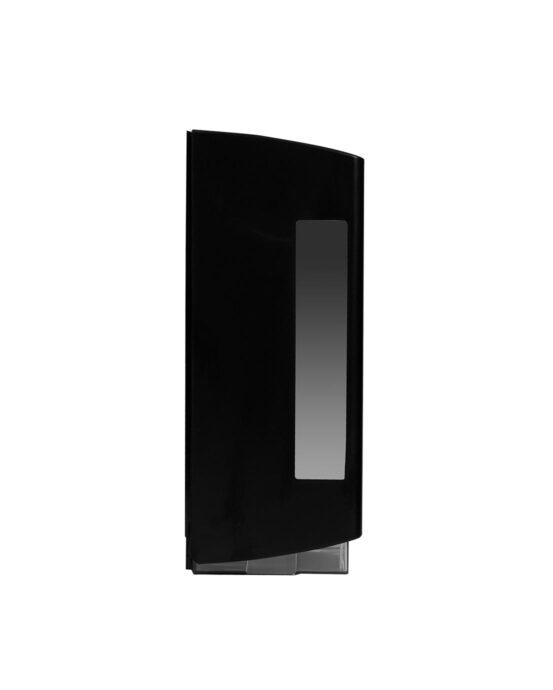 BlackSatino–WC-paperiannostelija. Annostelija kuvattuna sivulta. Musta värivaihtoehto. Tuotenumero: 332040.