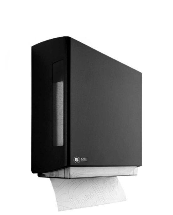 Novosan BlackSatino–Z-fold paperiannostelija. Väri: musta. Tuotenumero: 332070.