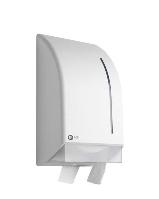 BlackSatino-jumborulla-WC-paperiannostelija. Annostelija kuvattuna viistosti edestä. Valkoinen värivaihtoehto. Tuotenumero: 332730.