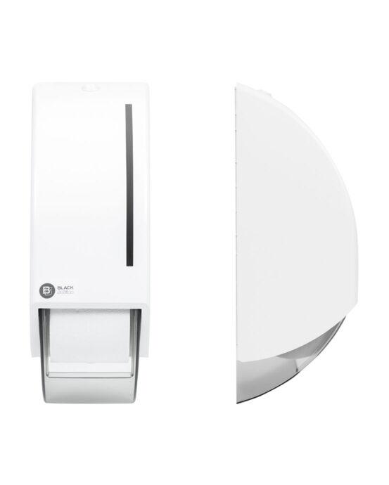 BlackSatino-WC-paperiannostelija järjestelmärullille. Annostelija kuvattuna edestä ja sivulta. Valkoinen värivaihtoehto. Tuotenumero: 332740.