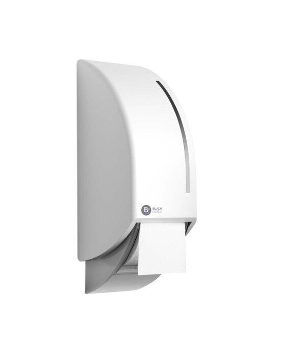BlackSatino-WC-paperiannostelija järjestelmärullille. Annostelija kuvattuna viistosi sivulta. Valkoinen värivaihtoehto. Tuotenumero: 332740.