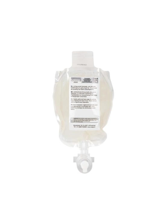 Vaalea vaahtosaippuapussi annostelijoihin. Satino-vaahtosaippua, tilavuus 750 ml, tuotenumero 332320.
