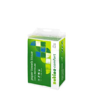 Satino Comfort –käsipyyhepaperi. Tuotekassi on vihreä ja läpinäkyvä muovikassi. Kantokassin kyljessä lukee 100 % kierrätettyä käsipyyhepaperia. Tuotenumero: 277330.