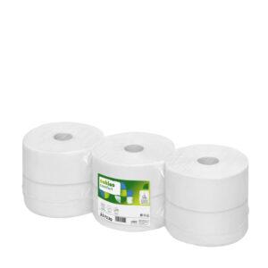 Satino by WEPA jumborulla-paketti. Kuusi suurta WC-paperirullaa kuvattuna viistosti ylhäältä. Väri: valkoinen. Tuotenumero: 317130.