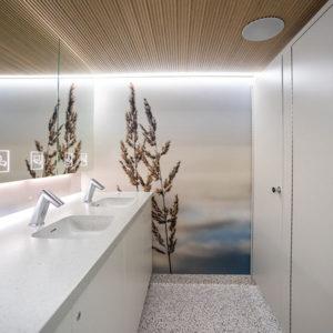 Vessakontin naisten-WC. Tilassa näkyvät hanat, käsienpesualtaat ja vessakopit.